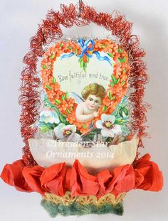 Valentine with Cupid on Red and White by DresdenStarOrnaments, $59.95