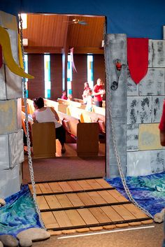 Kingdom Rock VBS 2013 drawbridge    I like this with the moat around...  Could we make a big enough one to put at the entrance of the worship center?