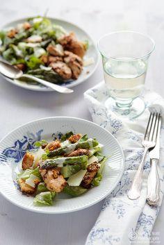 Asparagus Chicken Cesar Salad. I don't like asparagus but this looks yummy