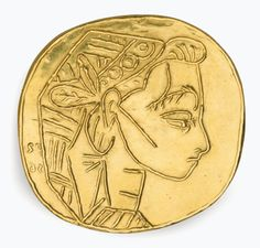 After Pablo Picasso (1881-1973), Profil de Jacqueline (P.H. 1412). Diameter 2⅛ in. (5.4 cm.). Estimate $10,000-15,000. This work is offered in Art as Jewellery, 6-18 May, Online