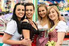 4 gorgeous young women at German funfair - Buy this stock photo and explore similar images at Adobe Stock Fashion 2018, New Fashion, Autumn Fashion, Fashion Dresses, Womens Fashion, European People, German Girls, Face Treatment, Lederhosen