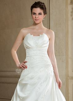 A-Line/Princess Scalloped Neck Chapel Train Satin Wedding Dress With Ruffle Beading Sequins (002000605)