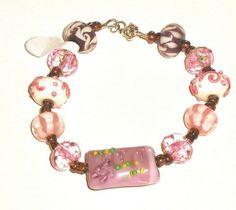 Pink Lampwork Glass Bracelet  | SunCreations - Jewelry on ArtFire