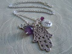 Hamsa Hand Tree of Life and Om Charm Necklace - Amethyst - Protection - Grounding - Namaste - Yoga Jewelry - Handmade Jewelry by BohemienneBelle on Etsy https://www.etsy.com/listing/160636557/hamsa-hand-tree-of-life-and-om-charm
