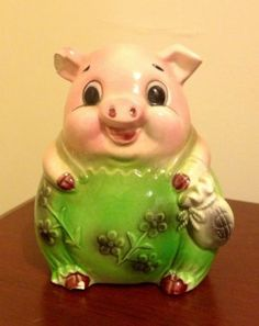 Vintage Chalkware Piggy Bank In Pink Overall Pants Pink