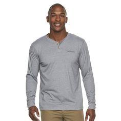 Men's Columbia Sportswear Logo Omni-Wick Performance Henley, Size: Small, Dark Grey