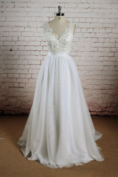 Sheer Back Wedding Dress, A-line Wedding Dress, Ivory Tulle Bridal Gown, Beaded Lace Wedding Gown