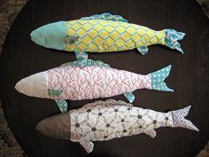 Mimi Kirchner Fresh Fish pattern done up entirely in Cloud9 Fabrics Beyond the Sea prints. Look for them at the International Quilt Market! PS- They just got button eyes, which makes them even cuter!
