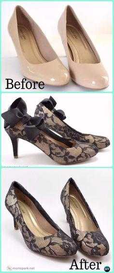 DIY Lace Heels Makeover Instruction - DIY Ways Refashion Heels Tutorials