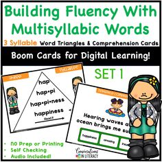 Digital Distance Learning for Elementary School students! Multisyllabic word activities can be linked to in Google Classroom