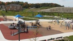 North Thornhill Community Centre Landscape Structures PlayBooster, Evos & Weevos (inclusive play for all ages and all abilities) Parks Furniture, Landscape Structure, Pedestrian Bridge, Playgrounds, Centre, Community, Patio, Building, Places