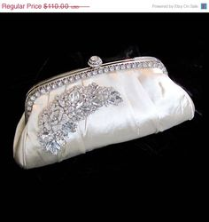 Bridal clutch Victorian evening bag Ivory by BijouxandCouture, via Etsy.