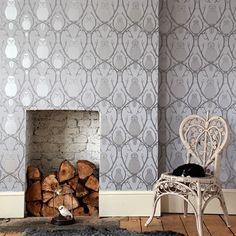 briar owl wallpaper silver