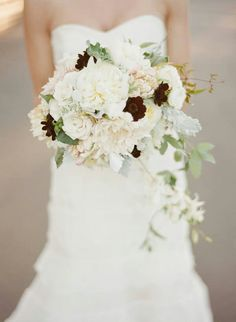 Lush cream, blush, dark red, Burgundy Bridal bouquet. Esther Sun Photography & Daisy Rose Floral Design