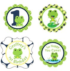 "Hoppy Froggy Cupcake Toppers - 2"" Squares/Circles - Gift/Favor Tags - DIY Printable Label - Boys Birthday Party - Frog Theme Decorations"