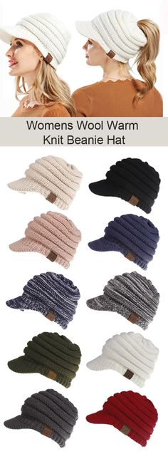 Womens Wool Warm Soft Knit Ponytail Beanie Hat Winter Outdoor Snow Leisure Messy Bun Beanie Hats is hot sale on Newchic. Crochet Crafts, Crochet Projects, Knit Crochet, Knitting Projects, Ponytail Beanie, Beanie Hats, Crochet Stitches Patterns, Knitting Patterns, Fingerless Mittens