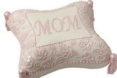 Sew Very Nice Mother's Day Pillow Cake - Mom will be sitting pretty with this charming pillow cake embellished with a delicate brush embroidery floral design. This elegant cake is enhanced with shimmery Pearl Dust and pretty fondant tassels. Cupcakes, Cupcake Cakes, Fondant Cakes, Pillow Cakes, Pillows, Cushions, Beautiful Cakes, Amazing Cakes, Mothers Day Cakes Designs