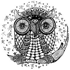 Owl Coloring Pages for Adults | This is the owl image that I've drawn for the friend who plans to ...