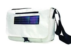 This bag from recycled materials has a build in solar panel, and inside the pocket a collection of different cables for you to charge your electronics. On the go.