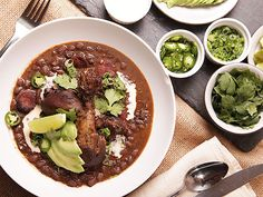 Black bean soup with braised chicken and chorizo.