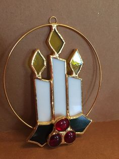 "Tiffany Stained Glass Ornament Christmas Candles 5"" Sun Catcher"