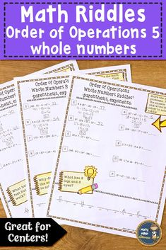 Students can practice order of operations problems with whole numbers with these order of operations worksheets. They solve the order of operations problems and use the code to solve the riddle. Problems are written horizontal and include whole numbers, parenthesis, and exponents. Includes three riddle sheets and answer keys. These are great for early finishers, center work, or homework! $ grade 6-7 #mathcenters #math #orderofoperations #mistymiller #teacherspayteachers 7th Grade Classroom, Math Boards, Order Of Operations, Early Finishers, Interactive Notebooks, Riddles, Anchor Charts, Math Centers, Homework