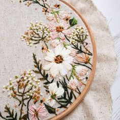 The colour palette for this wedding hoop commission was absolutely gorgeous! Antique gold, fern green, blush The colour palette for this wedding hoop commission was absolutely gorgeous! Hand Embroidery Stitches, Embroidery Hoop Art, Hand Embroidery Designs, Ribbon Embroidery, Cross Stitch Embroidery, Wedding Embroidery, Embroidery Ideas, Hand Stitching, Embroidery Sampler