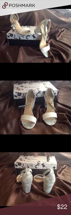 Cute ankle strap sandals 💕💕 Cute little white, grey black with a cool mint ankle strap 🎀🎀 never worn!! Shoes Sandals