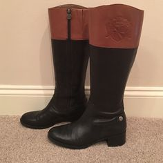 Franco Sarto L-CHIPPER Tall Knee High Riding Boot Two toned BLACK/TAN leather boot. Color combination is a perfect match for any outfit. Full length inner zipper. Franco Sarto Shoes