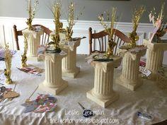 Greek gods, Bat Mitzvah, centerpieces, Athena, Poseidon, Zeus,