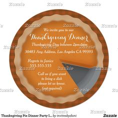 Thanksgiving Pie Dinner Party Inviations