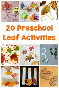 20 Preschool Leaf Activities for kids! So many crafts, literacy activities, counting and more all to be learned with leaves! #fallwithkids #leafcrafts
