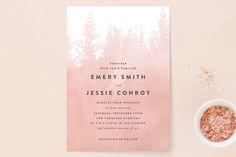 """misty forest"" - Wedding Invitations in Navy by Ariel Rutland."
