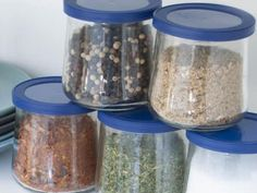 Turn Your Glass Yogurt Jars Into Storage Containers with These Reusable Lids Airtight Food Storage Containers, Glass Containers, Homemade Spices, Jar Lids, Spice Mixes, Hanging Planters, Yogurt, Mason Jars, Snacks