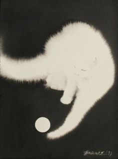 "Saatchi Art Artist Endre Penovác; Painting, ""White Ball"" #art #catdrawing"