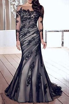 Lace Embroidered Elegant Boat Neck Long Sleeves Maxi Dress For Women