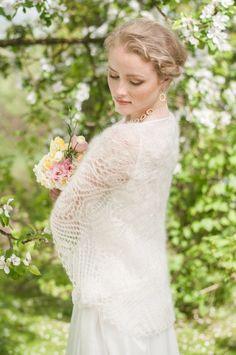 Mariage de lacets châle tricoté main Wrap, mariage, mariée écharpe, écharpe de dentelle Ivoire, Mohair, soie, tricoté main lacets Stola