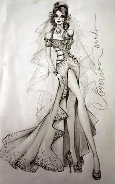 That's a beautiful wedding gown Dress Design Sketches, Fashion Design Sketchbook, Fashion Design Drawings, Illustration Mode, Fashion Illustration Sketches, Fashion Sketches, Croquis Fashion, Manequin, Dress Drawing