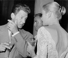 """ Jean-Pierre Aumont and Grace Kelly, 1955 [x] "" Classical Hollywood Cinema, Classic Hollywood, Grace Kelly, Festival Hall, Prince Rainier, Film Institute, Tumblr, Ava Gardner, Chicago Tribune"
