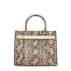 Reed Krakoff Genuine Python Leather Satchel Shoulder Bag Handbag Purse (Putty Black)
