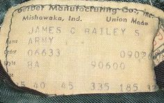 Vintage army label.