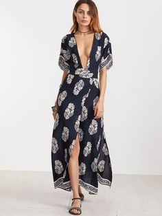 a01480f5a2 Navy Vintage Print Plunge Neck Open Back Kimono Wrap Dress Cute Dresses