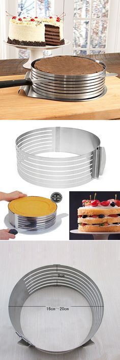 20cm Adjustable Slice Layered Stainless Steel Round Ring Baking Circular Mold Bakeware
