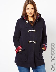 ASOS CURVE Duffle Coat With Check