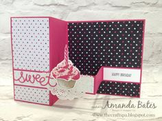 The Craft Spa - Stampin' Up! UK independent demonstrator : Sweet Cupcake Large Square Pop Up Z Fold Card