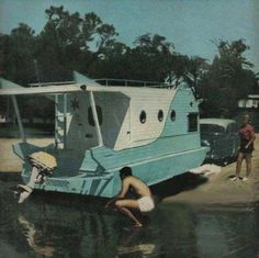 My Boats Plans - 1957 Trail-It houseboat Master Boat Builder with 31 Years of Experience Finally Releases Archive Of 518 Illustrated, Step-By-Step Boat Plans Retro Trailers, Vintage Travel Trailers, Vintage Campers, Camper Trailers, Tiny Trailers, Vintage Caravans, Chuck Box, Wooden Boat Plans, Wooden Boats
