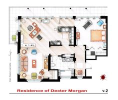 """DEXTER's Apartment v2. This is a hand drawed plan, in scale, coloured with colour pens and with full details of furniture and complements ... The design is made according with the """"real"""" apartments respecting the spaces, proportions, furniture and objets presents in the studio. Some sets have changed throughout the different seasons and this floorplan is a mixture of various of them. If you want to buy an original artworks write me to ializar@hotmail.com or visit my ETSY store."""