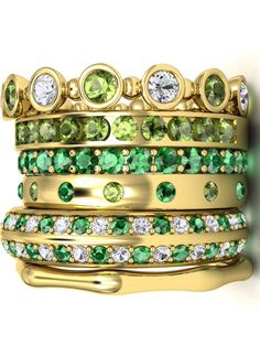 Emerald and Diamond Rings...STACKED