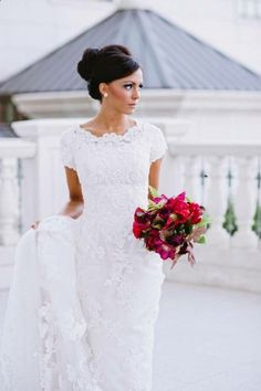 Modest Wedding Dress with Sleeves Lace Wedding Dress Kallah Gown Tzniut Tznius
