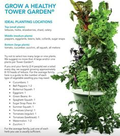Grow a healthy Tower Garden! Planting guide AEROPONIC.  No dirt.  Grow veggies and fruits with no tilling, or preparing soil.  I love this because you can grow totally organic plants with less work than a traditional dirt garden.  Rmccarty.towergarden.com